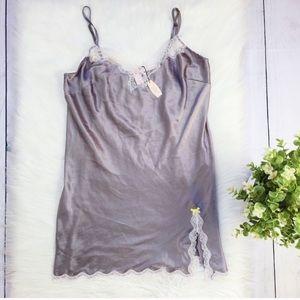 NWT Victoria Secret GRAY Silver Silk Nightgown 325